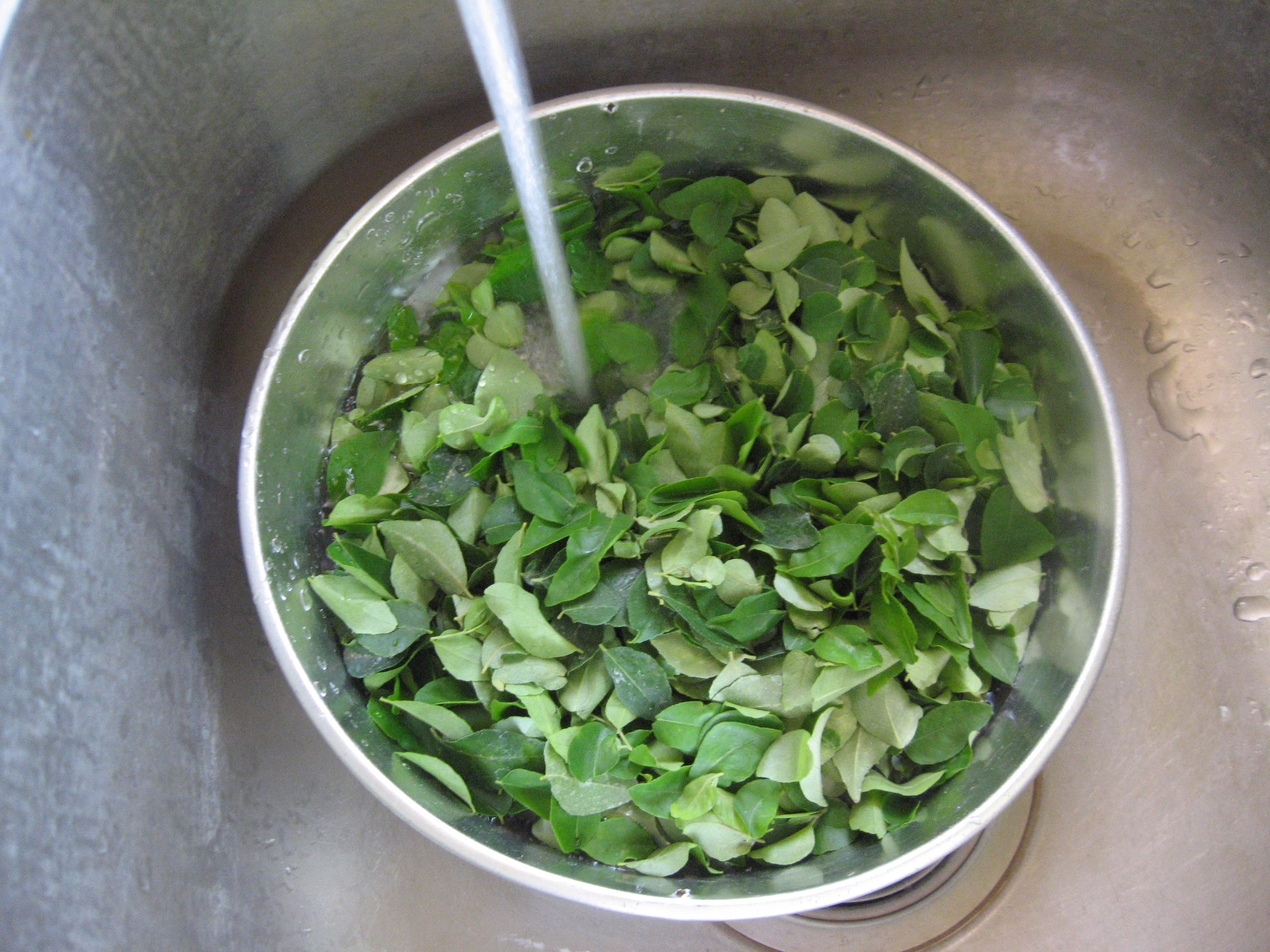 Picture of Remove Stems and Rinse Curry Leaves