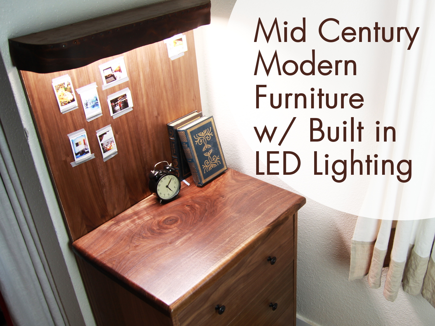 Picture of Mid Century Modern Storage Table W/ Built-in LED Lighting