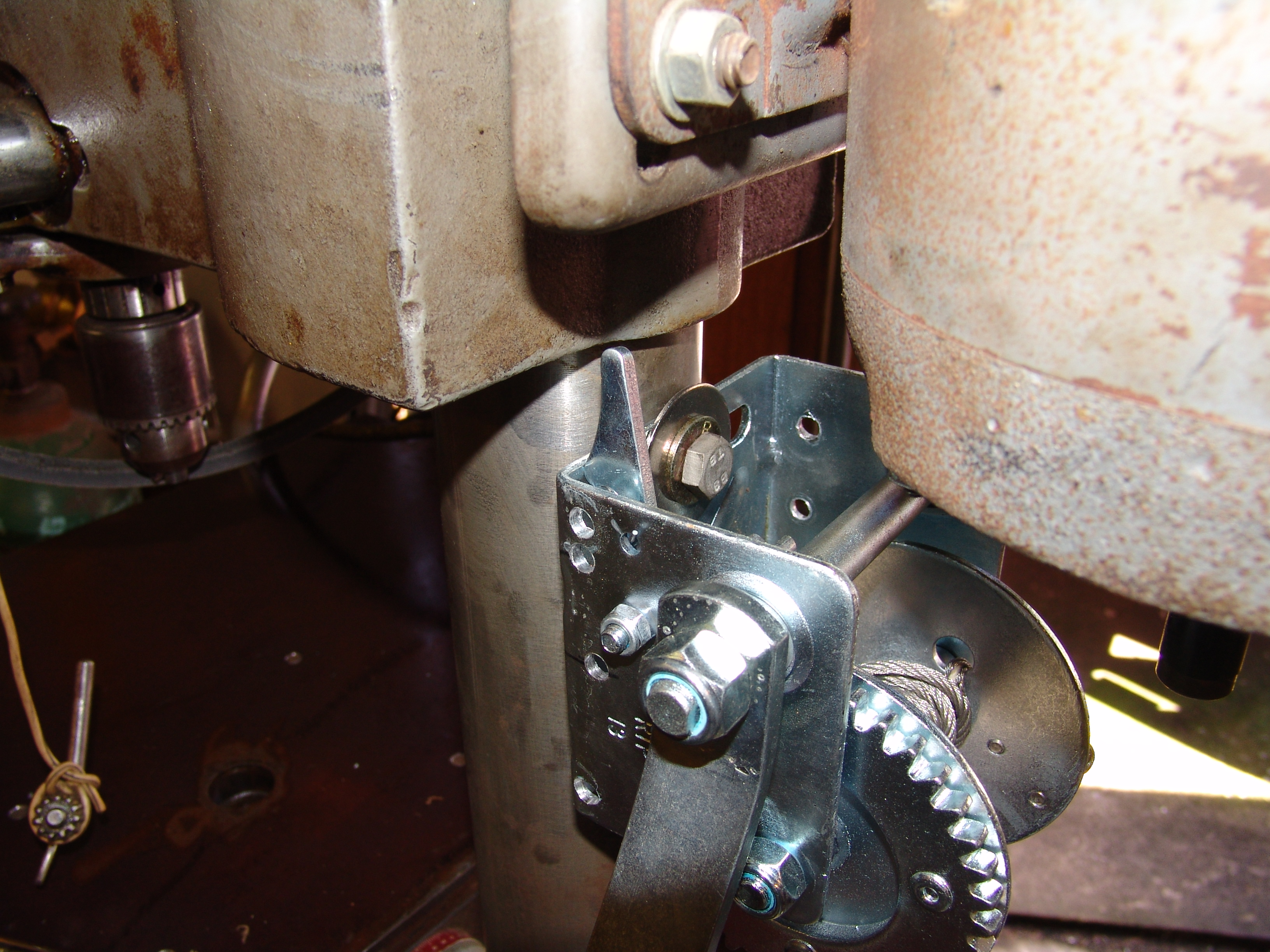Picture of Mounting the Table Winch to the Drill Press