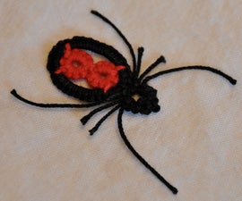 Tatted Black Widow Spider Pendant
