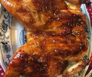 Drunken Chicken Under a Brick With Peach Jalapeño BBQ Glaze
