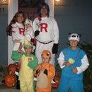 Team Rocket, Meowth, Oshawott, Snivy and Charmander