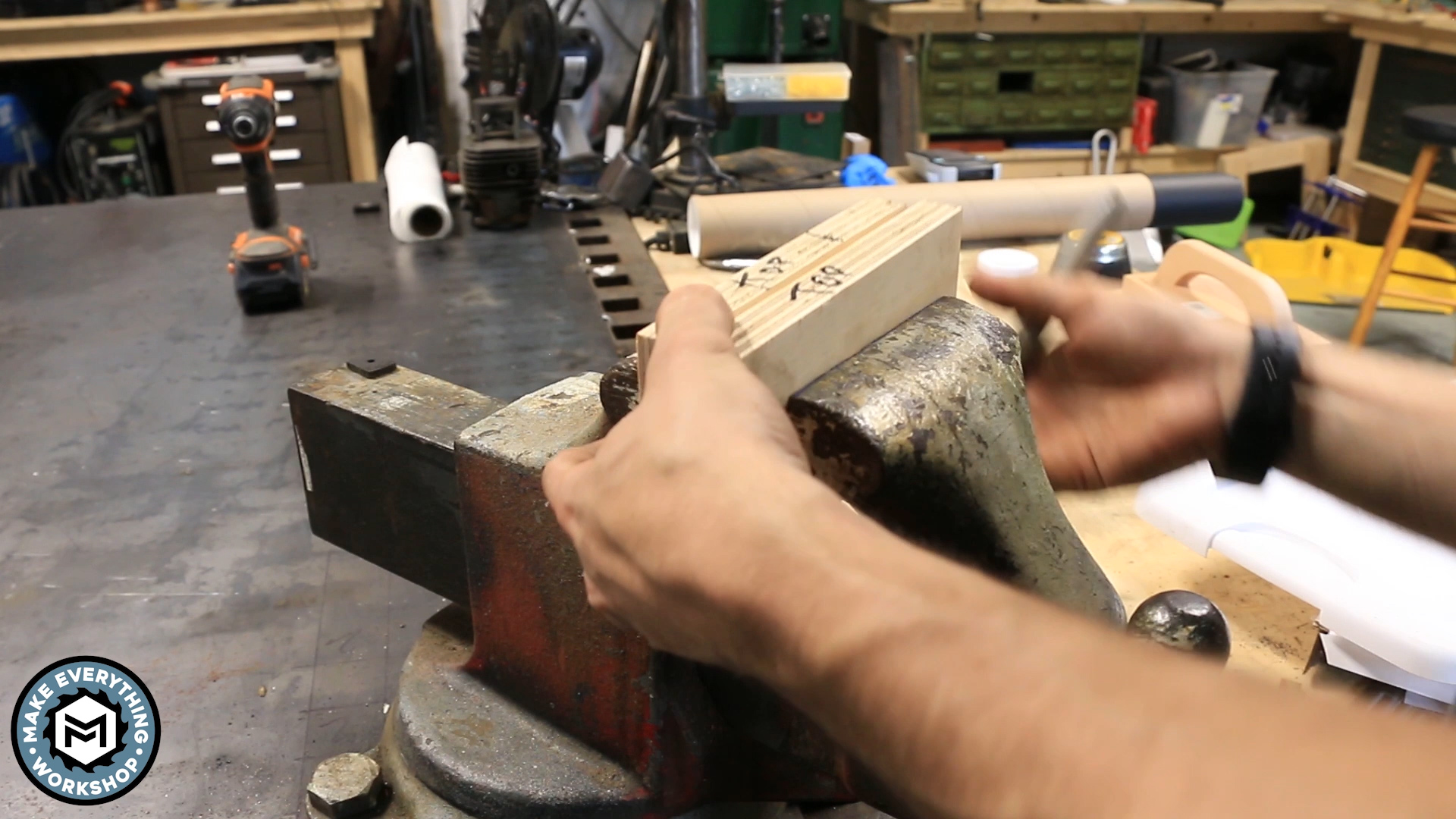 Picture of Set Up Your Block in a Bench Vise.