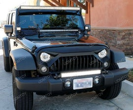 Install 07-17 Jeep Wrangler Tow Hook Mounted LED Light Bar