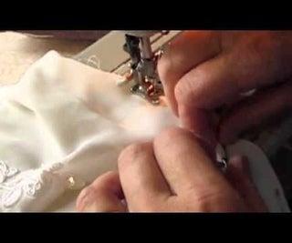 Hemming Chiffon on a Wedding Dress