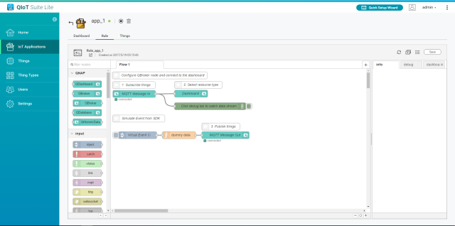 Picture of Go to the Rule Tab to Define the Flow or Rules on How to Process the Data Sent From the Device, and How to Present in a Dashboard.