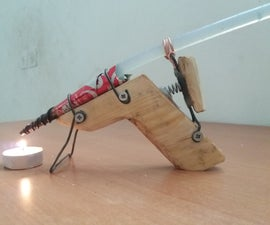 Hot glue gun works with candle