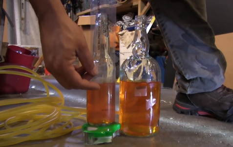 Drill Glass Bottles to Make a Water Level