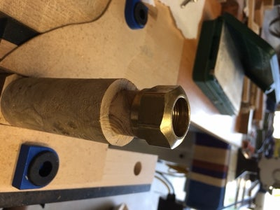 Measuring the Compression Nut Diameter and Depth and Marking on the Spindle, Turning for the Nut to Be Threaded On.