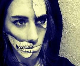 Part Skull Face Makeup Transformation