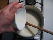 Picture of Add the The Culture/milk Mixture to the Larger Pot of Milk.