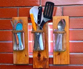 DIY Rustic Cutlery Holder