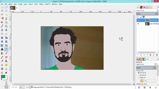 Then Select the Facial Features and Shirts and Fill It With Their Respective Colors Using Bucket Fill Tool