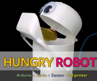 饥饿的机器人 - 硬币吃机器人!(3D打印机,Arduino,传感器,伺服)
