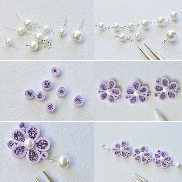 Picture of Make the Rest Part of the Purple Quilling Paper Flower Necklace