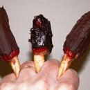 Chocolate-Covered, Peanut Butter-Filled Jalapenos on Pretzel Sticks