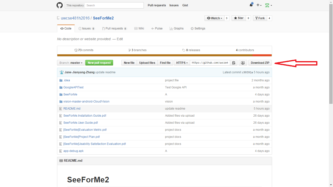Picture of Download the SeeForMe GitHub Repo