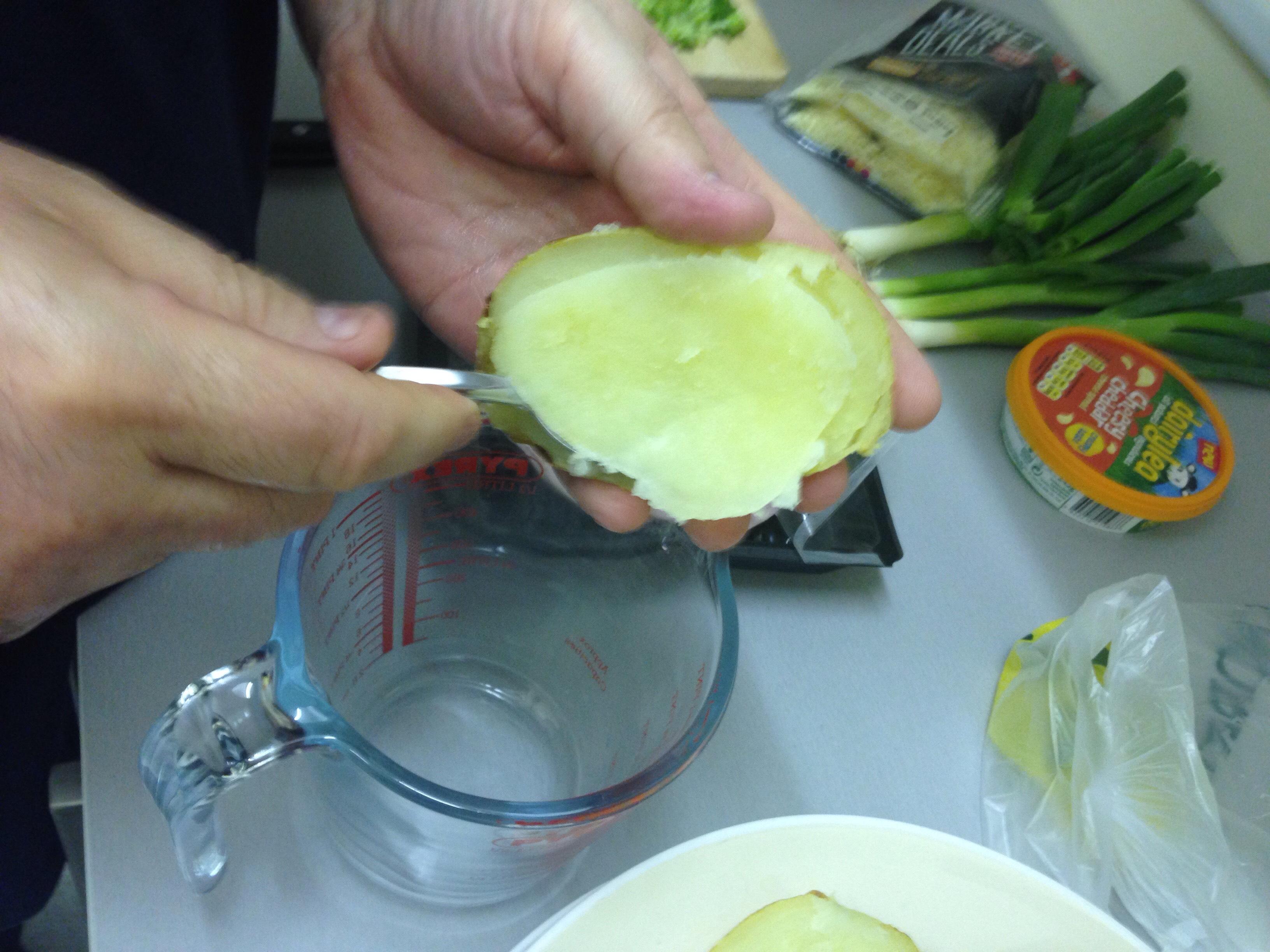 Picture of Cut Open Potatoes, Scrape Out Potato