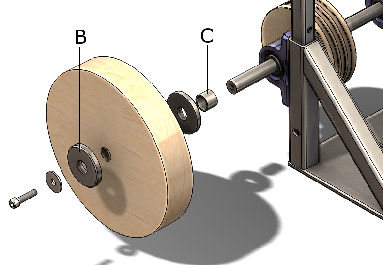 Picture of Assembling the Wooden Pulley and the Wooden Wheel