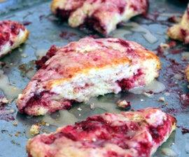 Raspberry Scones with Almond Glaze