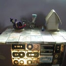 DIY Table and lamp (from old audio tapes)