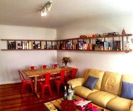 Wall-mounted horizontal ladder shelf