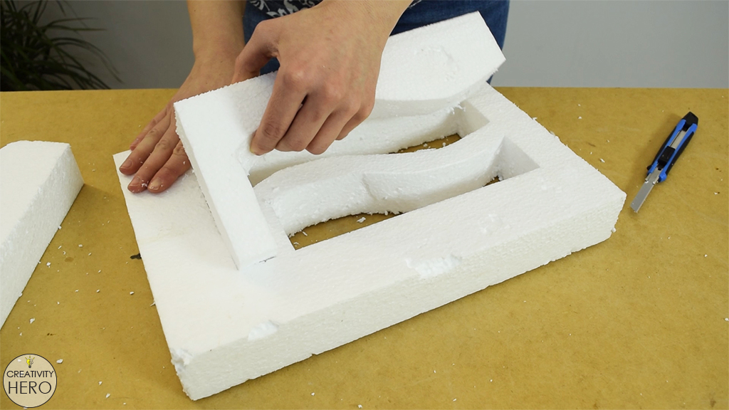 Picture of Making the Styrofoam Mold.