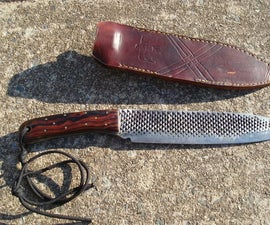 Large camp knife made from rasp