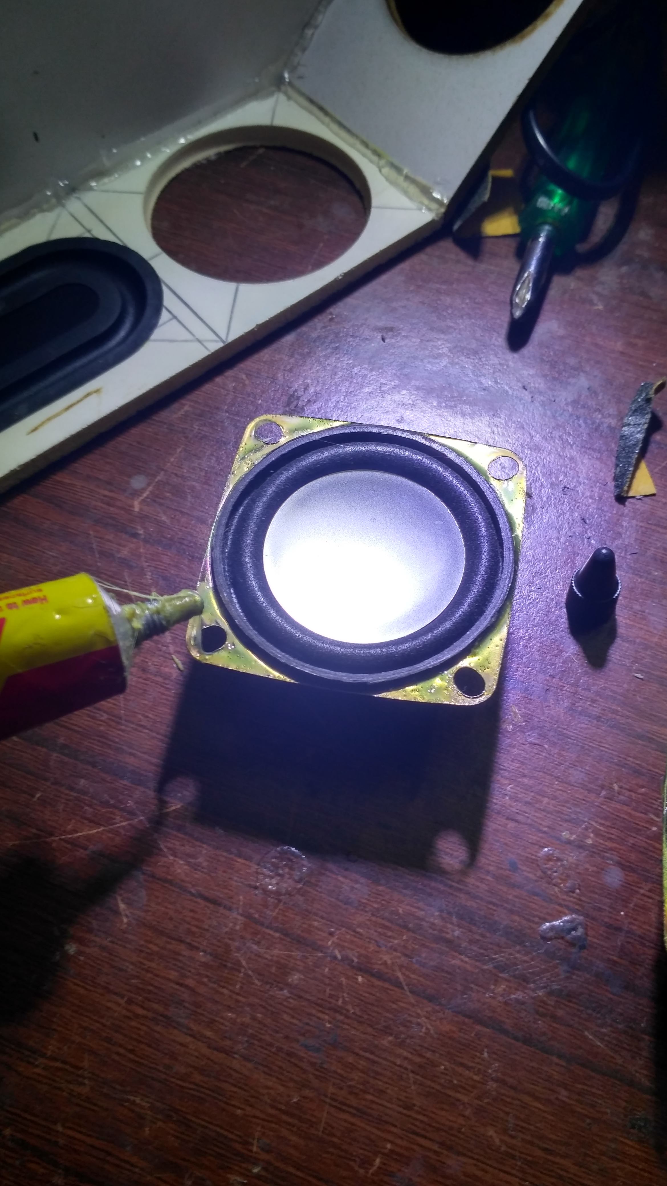 Picture of Attaching the Speakers and Passive Radiators:-