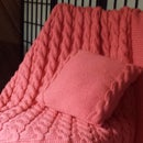 Reversible Cabled Baby Blanket and Coordinating Pillow