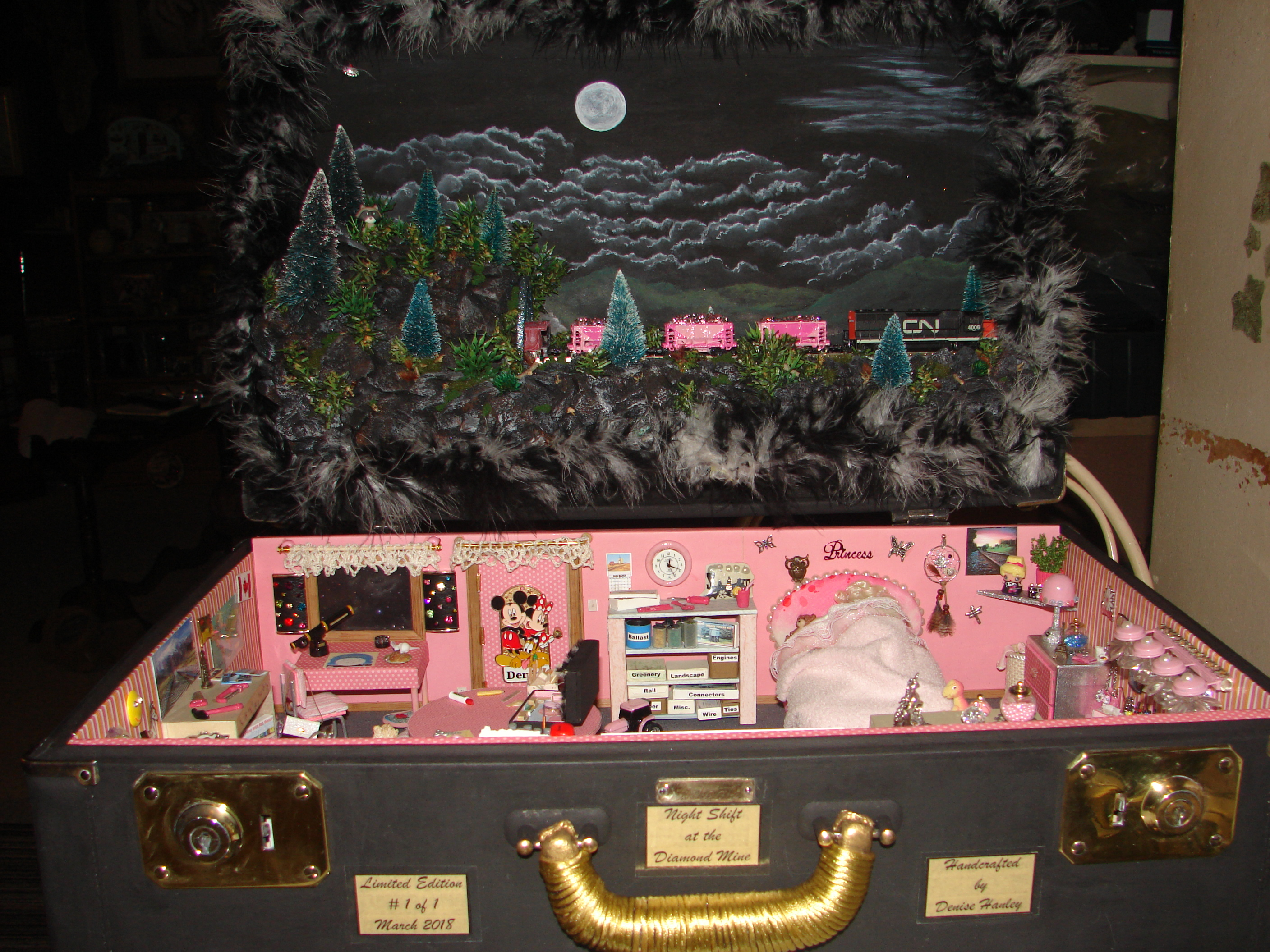 Picture of Night Shift at the Diamond Mine- N Scale Train Diorama in a Suitcase