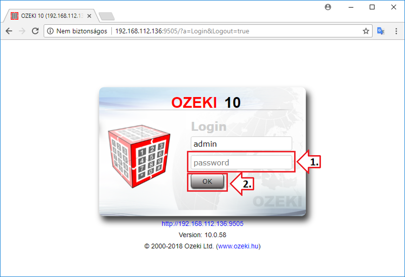 Picture of Login Into Ozeki 10