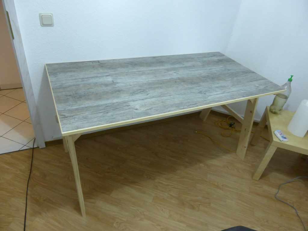 Picture of DIY Desk With Vinyl  Flooring Top