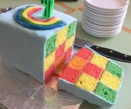 Simplified Two-Tin Rainbow Cake