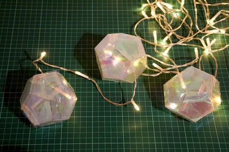 Dodecahedron Party Garland | Iridescent Film & Acetate Geometry