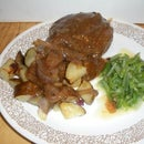 Stuffed Hamburger Steak With Brown Gravy and Onions