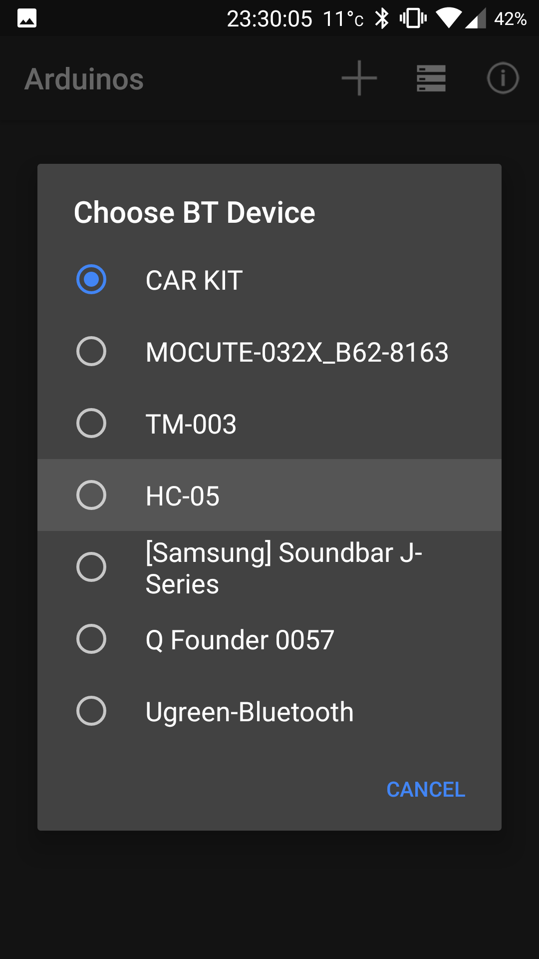 Picture of Auto App for Arduino Settings and BT Connection