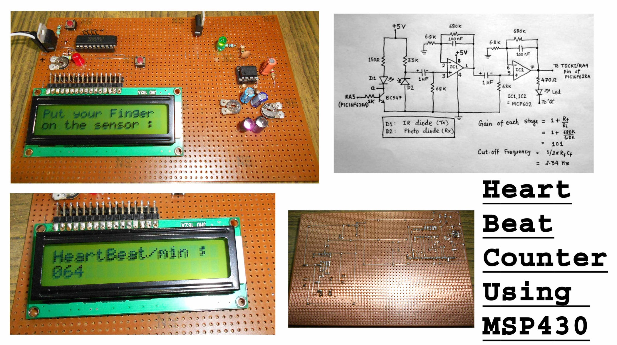 Heart Beat Counter Using Msp430 Circuits Schematic Code Files Countercircuitswithpic16f628