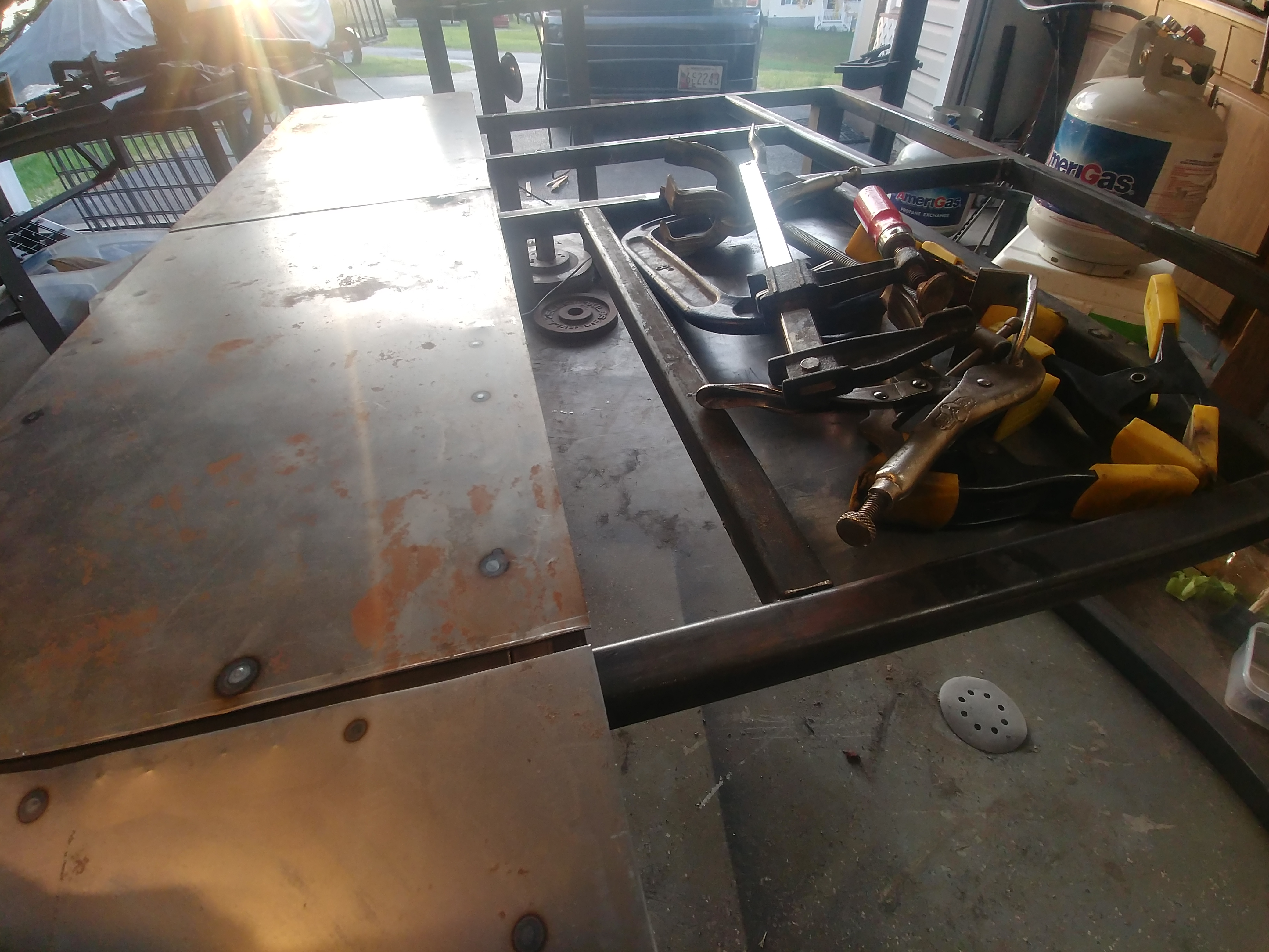 Picture of Clamping and Tack Welding the Center Piece