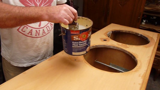 Cutting the Holes in the Worksurface, Staining and Varnishing.