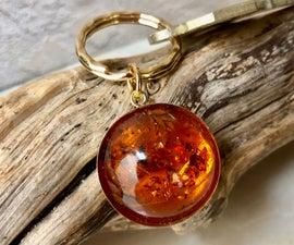 Faux Amber Resin Key Ring