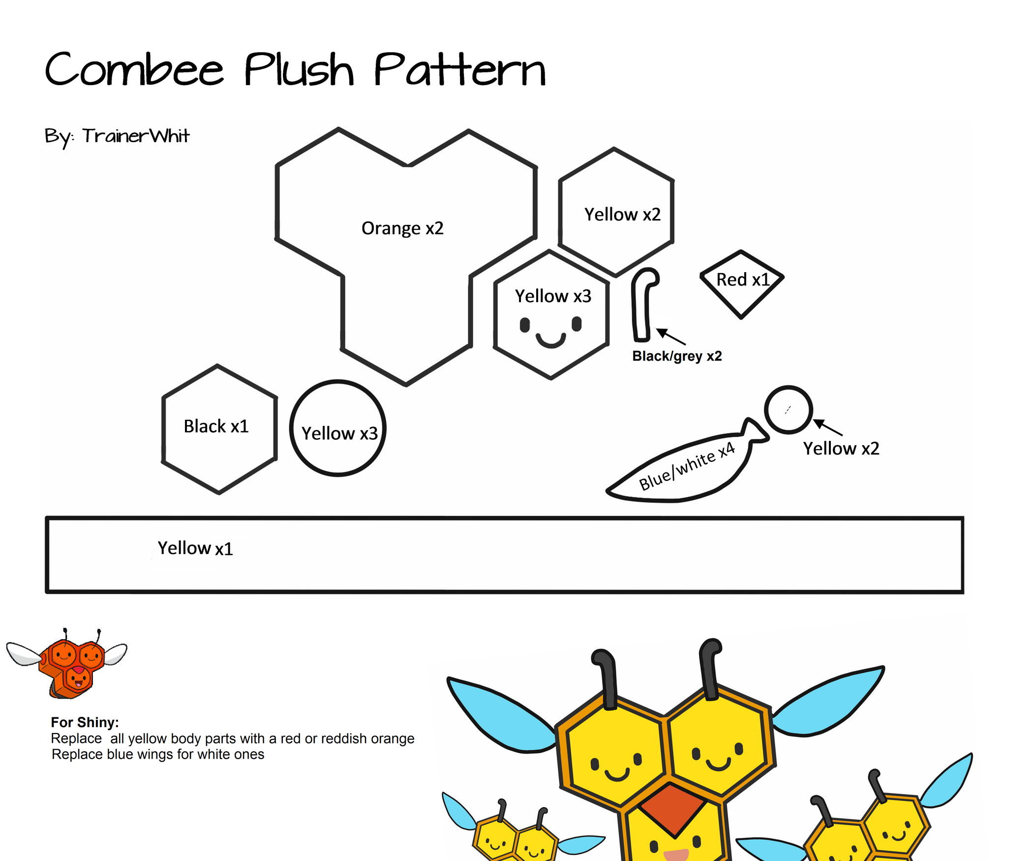 How To  Make a Felt Combee Pokemon Plush  3 Steps (with Pictures) 916402c921775