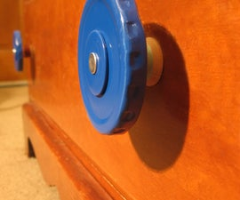 Jar Lid Drawer Pulls - Re-purposing metal jar lids and wooden spools