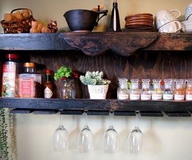 DIY Wood Spice Rack With a Pallet Wine Glass Holder