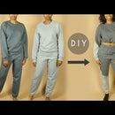 DIY Color Block Crop Top Sweatshirt & Sweatpants (Beginners Sewing)