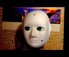 Animatronics Head Looking at the Brightest Light Source. From Recycled and Reused Materials