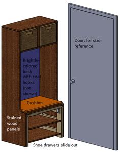 Coat-rack With Sliding Shoe Drawers