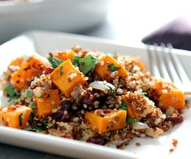 Gluten-free Quinoa with Sweet Potatoes and dried Cranberry Stuffing