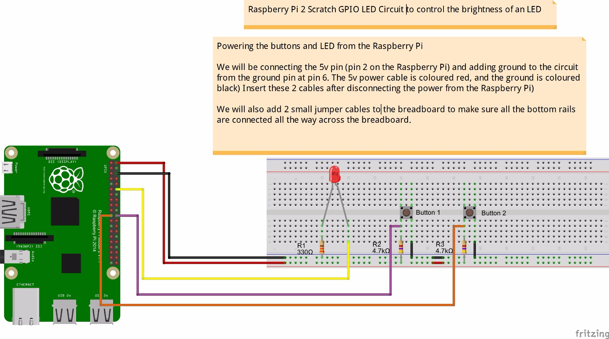 Picture of Adding 5v Power and the Raspberry Pi's Ground to Our Breadboard Circuit