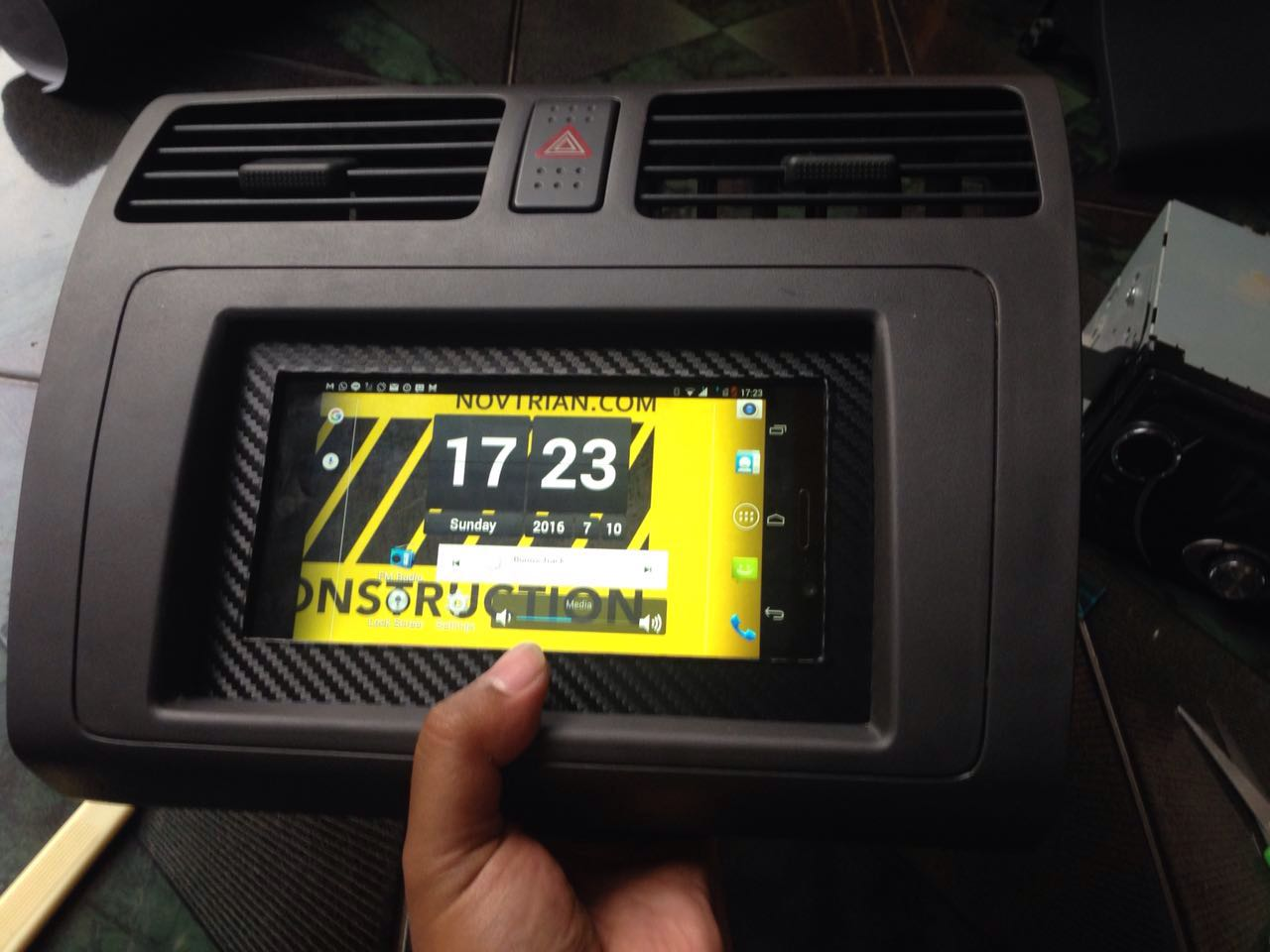 Picture of Android Kitkat Tablet/Phone Built in Car's Dashboard